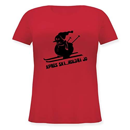 Après Ski - Ski Schneemann - L (48) - Rot - JHK601 - Lockeres Damen-Shirt in großen Größen mit Rundhalsausschnitt