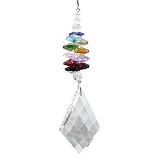 Set Fensterdeko Kristall Pendel Raute mit bunten Kristallsteinen Regenbogenkristall Feng Shui Mobiles Länge 60cm zum aufhängen