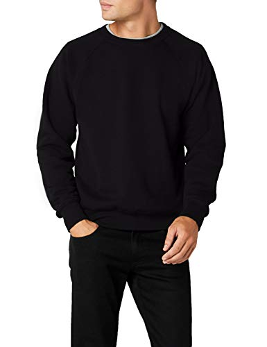 Fruit of the Loom Herren, Sweatshirt, Raglan Sweatshirt, Schwarz, Medium (Herstellergröße : Medium)