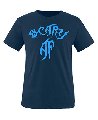 Comedy Shirts - Scary Af - Halloween - Jungen T-Shirt - Navy/Blau Gr. 152-164