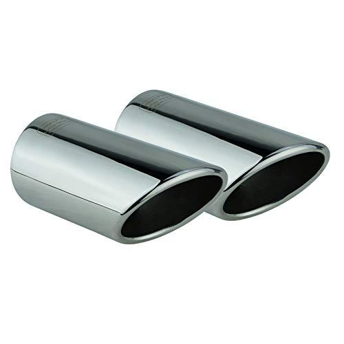 L&P A288 2 Auspuffblenden Auspuffblende Edelstahl spiegel poliert Chrom Plug&Play Endrohrblenden Endrohrblende Auspuff Blende Endrohre