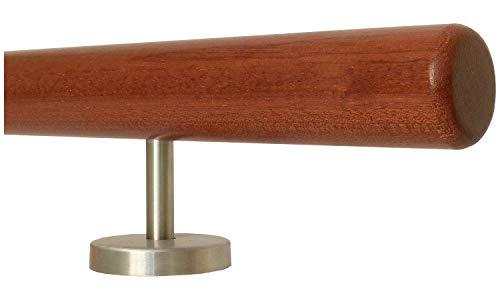 Mahagoni Geländer Handlauf Treppe Holz Griff gerade Edelstahlhalter, Länge 30-500 cm aus einem Stück/zum Beispiel Länge 100 cm mit 2 gerade Halter - Enden = Radius gefräst