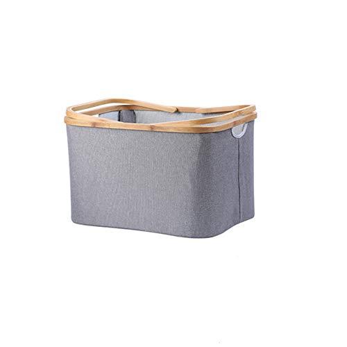 ETH Faltbarer Stoff Einkaufskorb/Bambus Körbchen/Badezimmer Aufbewahrungskorb/Wohnzimmer Spielzeug Aufbewahrungskorb/Finishing Basket (Farbe : Gray, Size : S) -