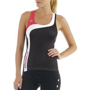 Pinarello Damen Rondo Corsa Fahrrad-Tank, PI-S5-WTAN-ROND, Damen Mädchen Herren, Rondo - Pink/White/Black, X-Small - Bib Detail Bluse