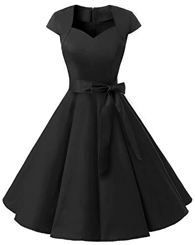 Kostüm 1960's Kleid - MuaDress 1960 Damen Vintage 50er Rockabilly Retro Kleider Eleganter Faltenrock mit Flügelärmeln Schwarz S
