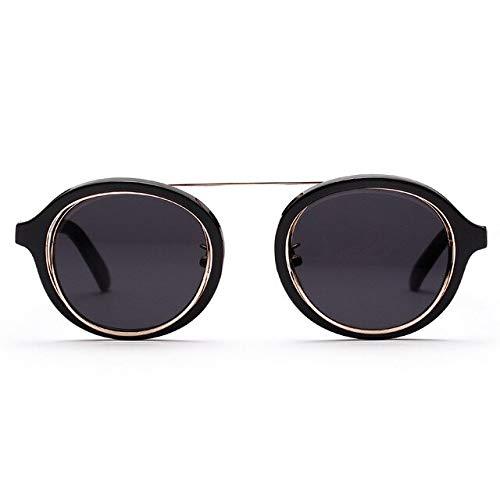 LLTYJ Nette Sonnenbrille Mode Frauen runde linse Sonnenbrille weiblich dicken Rahmen Brillenschwarz