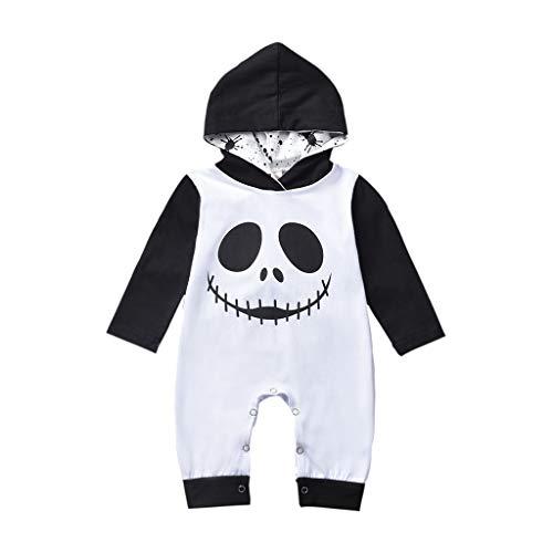 Omiky Säuglingsbaby-Halloween-Karikatur-Schädel-Druck-mit Kapuze Spielanzug-Overall-Kleidung (3M-24M) Baby Langarm