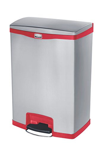 Rubbermaid Slim Jim 1902002 90 Litre Front Step Step-On Stainless Steel Wastebasket - Red