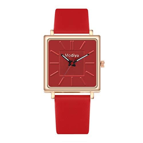 Caerling Damen Stilvoll Uhren Platz Ziffernblatt Moderne Damenuhr Elegante Uhr Leder Uhrenband Deko Armbanduhr Geschäft Freizeit Armband