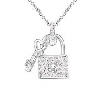 DESIGN FREUNDE Kette Damenkette mit Anhänger Key Silber Strass