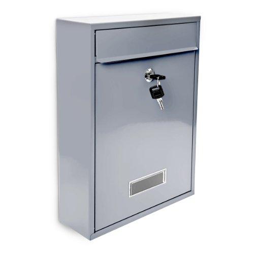 Design Briefkasten Metall Silber 26,5 x 35 x 8,5 cm