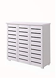 Timber Art Design Shoe Storage Cabinet with 3 Doors in White Contemporary Hallway Furniture