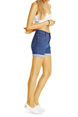 Bestyledberlin Damen High Waist Hot Pants, Denim Shorts, Sommer Jeansshorts j57i Dunkelblau