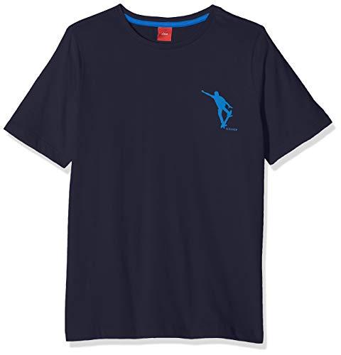 s.Oliver Jungen T-Shirt 61.901.32.0616 Blau (Dark Blue 5874) 164 (Herstellergröße: L/REG)
