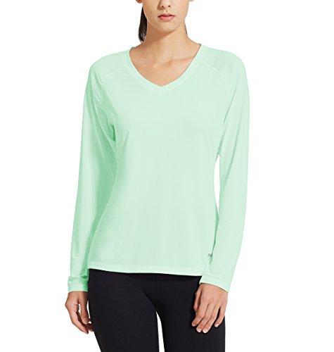 Baleaf Damen Fitness T-Shirt Sweatshirts Langarm Atmungsaktiv Mesh Laufshirt Aqua Größe XS (Aqua Top Mädchen Tank)