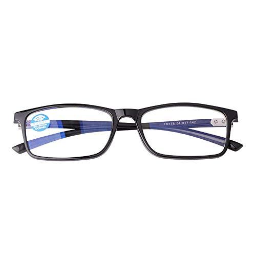 KOMNY Blu-ray Lesebrille Anti-blau-Lesebrille für Männer und Frauen Modelle Ultra-Licht-Strahlung-Nachweis Lesebrille Anti-Müdigkeit Alten Brille Brille Hyperopie Spiegel schwarz 100 Grad, A + 250