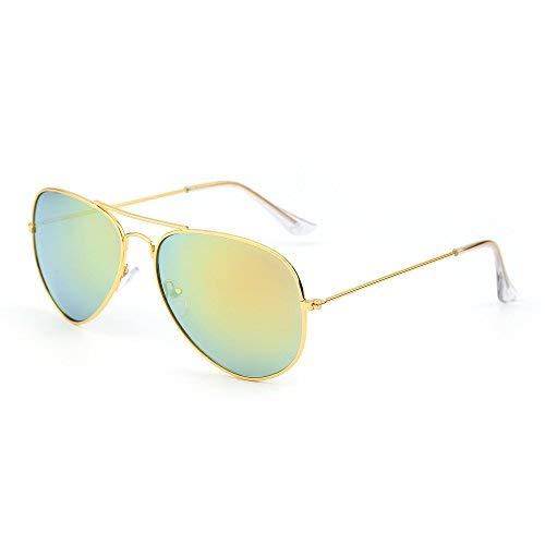 Retro Spiegel Flieger Sonnenbrille Blitz Getönt Linse Brille für Damen Herren UV400(Gold/Gelb)