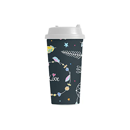 Diseño delicado Atrapasueños tribal 16 onzas Plástico de doble pared con aislamiento deportivo Tazas de botellas de agua Bolsas de café para viajes de cercanías para mujeres Bebida de la taza de té
