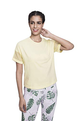 Satva Premium Organic Cotton Racerback Mesh Short Sleeve T-Shirt Round Neck for Yoga Workout Running Sports Training Cycling Jodo Tee, Yellow, X-Small -