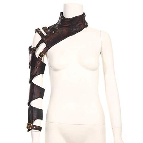 Gxianwengen Steampunk Retro Leder Arm Mantel Rüstung Kostüm Korsett Achselzucken Schal Cape Wraps Top Jacke mit Schulter Rüstungen Schnallen (Farbe : Braun, Size : W36cm) (Leder Look Cape Kostüm)