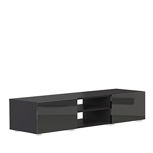 Symbiosis Banc TV 2 niches et 2 tiroirs-Corps noir-façade noire laquée brillante/3053A7612L02