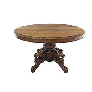 Antike Fundgrube Couchtisch Tisch Wohnzimmertisch Gründerzeit um 1880 Eiche massiv oval (8330)