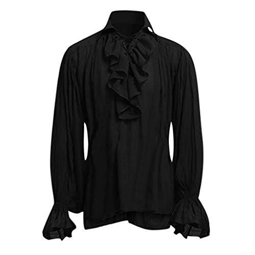 Kostüm Cube Ice - xmansky Halloween Gothic Langes Kleid Vampir Hexe Kleider Cosplay Hexenkostüm Kostüm,Hochwertige Mode Männer Bandage Langarm Mittelalter Hemd Gothic Man Bluse