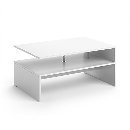 VICCO Couchtisch AMATO 90 x 60 cm - Wohnzimmertisch Beistelltisch Holztisch Kaffeetisch - 3 Farben zur Auswahl (Weiß)