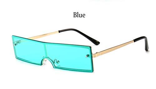 Cranky Orange Rechteck Sonnenbrille Männer Frauen Retro Vintage kleine quadratische Damen Sonnenbrille 2019 modische weibliche Shades Eyewear Dame, blau