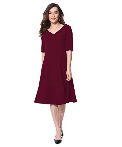 AARA Women's Midi Fit &Flare Dress Women Dresses/Ladies Dress/Round Neck A Line Maroon Female Dress/Knee Length Dress_(201605232-L)