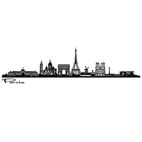 Wandkings Skyline - Deine Stadt wählbar - Paris - 125 x 26 cm - Wandaufkleber Wandsticker Wandtattoo - Paris-wand-aufkleber