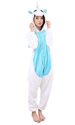 Einhorn Kostüm Pyjamas Tierkostüm Schlafanzug Verkleiden Cosplay Kostüm zum Karneval Fasching Flanell Warm (M: für Höhe 158-167 cm, Hellblau)
