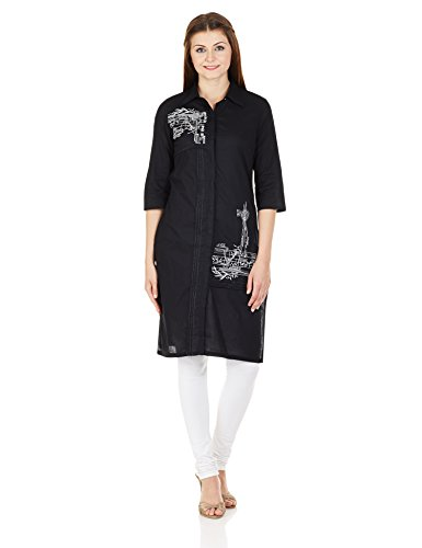 W for Woman Straight Kurta (15FE14983-29468_BLACK_10)  available at amazon for Rs.749
