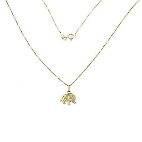 Lucchetta - Joyas Collar de Oro Amarillo Colgante de elefante - Collar de oro 9ct para mujer con colgante de elefante