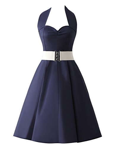 VKStar®Retro Chic ärmellos 1950er Audrey Hepburn Kleid / Cocktailkleid Rockabilly Swing Kleid Marineblau
