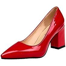 Zapatos de tacón, greatestpak Mode femenina zapatos de piel con tacón poco profundo, Piel sintética, rojo, 38 EU
