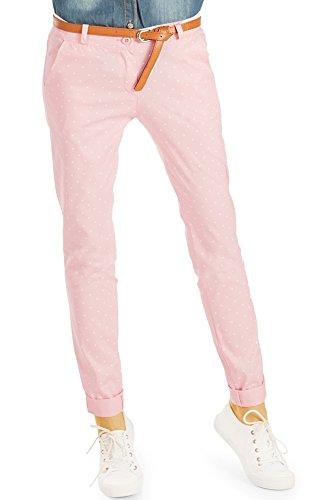 Bestyledberlin Damen Slim Fit Stoffhosen, Stern Print Hosen, Bedruckte Chinos h14a rosa 42/XL