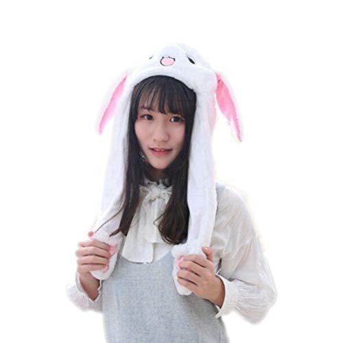 Amosfun Plüsch Ostern Kaninchen Hase Ohren Hut Mütze bewegen Ostern Bunny Kostüm Party Foto Booth Requisiten für Frauen und Mädchen (weiße Stickerei Augen)