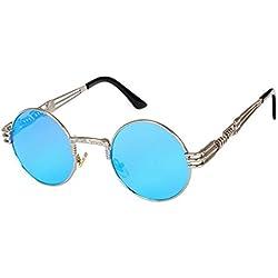 Atdoshop-Runde Retro Polaroid Sonnenbrille Fahren Polarisierte Gläser Männer Steampunk (Inklusive Kastenkasten) (E)