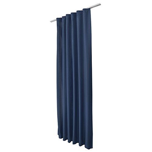 Beautissu Fenster Vorhang Kräuselband-Vorhang Amelie - 140x175 cm Blau - Dekorative Gardine versalband Fenster-Schal