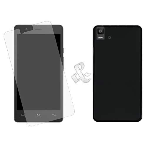 Hapdey [2 Stück für [Bq Aquaris E5s - E5 4G] Handyhülle [Schwarz] + Gehärtetem Glas Displayschutz [Klar]