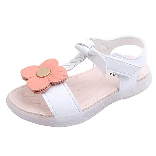 Mymyguoe Freizeit Roma Strandschuhe Kinder Mädchen Flache Strand Schuhe mit Blumen Wohnungen Schleife Knoten Bohemia Sandaletten Babyschuhe weichen Sohlen Schuhe mit ()