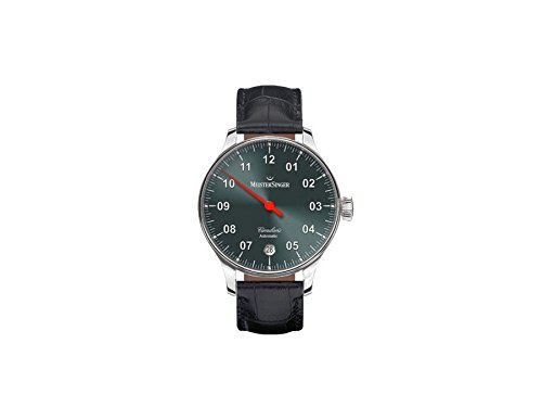Meistersinger Men's Circularis 43mm Black Leather Band Steel Case Automatic Grey Dial Analog Watch CC907
