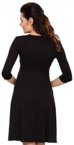 Zeta Ville - Damen Kleid Diskretes Stillen Taschen Skaterkleid Schwangere - 784c Schwarz