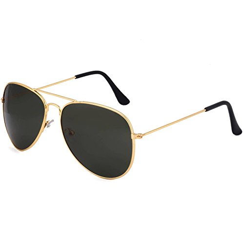 Poloport Golden Frame Black Shade Lense Aviator Sunglasses AV020