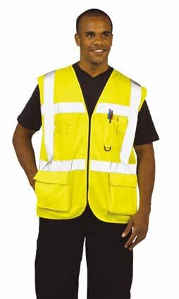 Hi Viz Executive Vis High Visibility Vest With Pockets Small Yellow