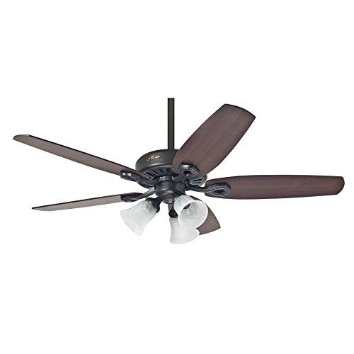 Hunter Fan Deckenventilator Builder Plus - Wendeflügel Kirsche/Nussbaum vergilbt - mit Leuchte, Stahl, E27, 65 W, NEW BRONZE, 132 x 132 x 46.1 cm - Hunter Bronze Fan