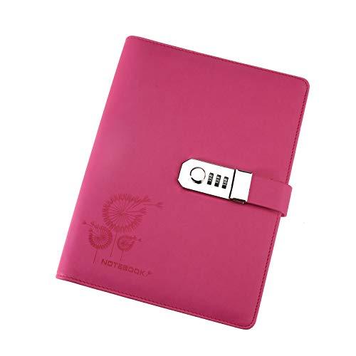 Rot Große Tagebücher Zeitschriften Notebook PU Leder A5 Code Lock Secret Diary (Tagebuch Junge Lock)