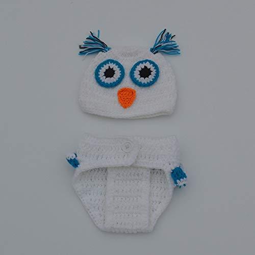 Aru Neugeborenen Fotografie Requisiten Baby Cute Crochet Owl Outfits Kostüm Set, Weiß
