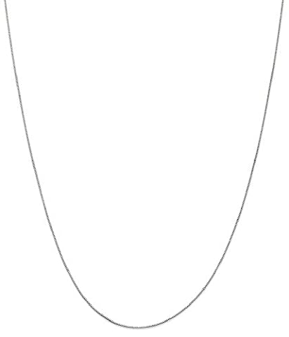 IceCarats 10k White Gold .5mm Link Box Chain Necklace 24 Inch